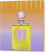 Gold Yellow Art Deco Perfume Wood Print