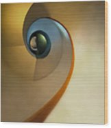 Golden And Brown Spiral Staircase Wood Print