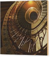 Golden And Brown Spiral Stairs Wood Print