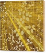 Golden And White Leaves Wood Print