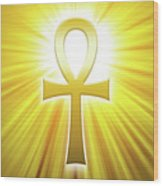 Golden Ankh With Sunbeams Wood Print