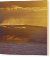 Golden Backlit Wave Wood Print