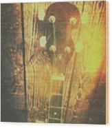 Golden Banjo Neck In Retro Folk Style Wood Print