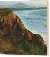 Golden Beach Cliff Side  Painterly Wood Print