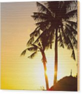 Golden Beach Tropics Wood Print