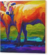 Golden Beauty - Cow And Calf Wood Print