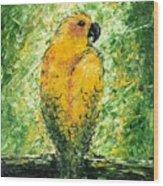 Golden Bird Wood Print