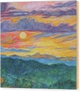 Golden Blue Ridge Sunset Wood Print