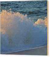 Golden Blue Splash Wood Print