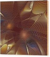 Golden Bronze Swirl Wood Print