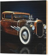 Golden Brown Hot Rod Wood Print