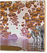 Golden Bubbles Wood Print