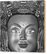 Golden Buddha Monochrome Wood Print