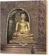 Golden Buddha Of Chang Mai Wood Print
