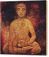 Golden Buddha Wood Print by Shijun Munns