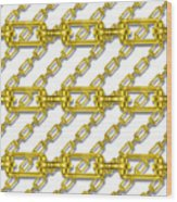 Golden Chains With White Background Seamless Texture Wood Print
