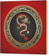 Golden Chinese Dragon Fucanglong On Red Leather  Wood Print