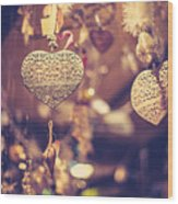 Golden Christmas Hearts Wood Print