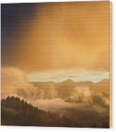 Golden Clouds And Fog At Sunrise In The Mountains Of Kamnik Savi Wood Print