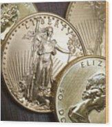 Golden Coins Wood Print