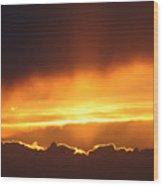 Golden Crested Clouds Wood Print