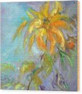 Golden Dahlia Wood Print