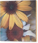 Golden Daisies Wood Print