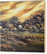 Golden Daze.sold Wood Print by Cynthia Adams