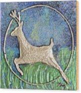 Golden Deer Wood Print