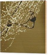 Golden Dewdrops Wood Print