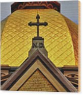 Golden Dome Notre Dame Wood Print