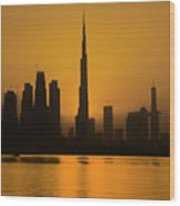 Golden Dubai Wood Print