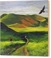 Golden Eagles On Green Grassland Wood Print