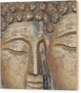 Golden Faces Of Buddha Wood Print