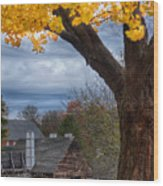 Golden Fall Colors Over Iron Works Wood Print