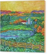 Golden Farm Scene Sketch Wood Print