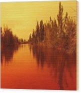 Golden Fire Wood Print