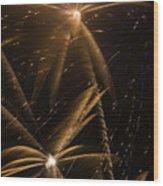 Golden Fireworks Wood Print