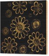 Golden Flowers Wood Print