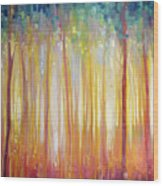 Golden Forest Hidden Unicorn - Large Original Oil Painting By Gill Bustamante Wood Print