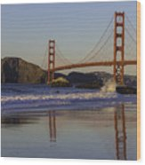 Golden Gate And Waves Wood Print