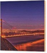 Golden Gate At Dusk Wood Print