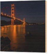Golden Gate At Night Wood Print