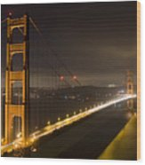Golden Gate At Night Wood Print by Mike Irwin