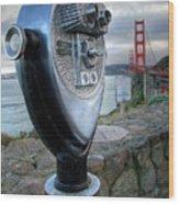 Golden Gate Binoculars Wood Print by Peter Tellone