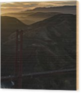 Golden Gate Bridge And Marin County At Sunset Wood Print