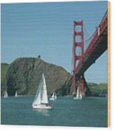 Golden Gate Bridge And Sailboats Wood Print