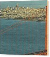 Golden Gate Bridge And San Francisco Skyline Wood Print