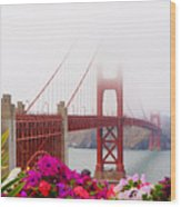 Golden Gate Bridge Flowers 2 Wood Print