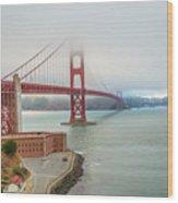 Golden Gate Bridge Fort Point Wood Print